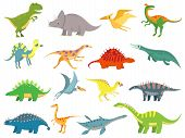 Cute Baby Dinosaur. Dinosaurs Dragon And Funny Dino Character. Fantasy Cartoon Colorful Prehistoric  poster