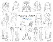 Womens Clothes Collection. Winter Outfit. Vector Sketch Illustration. poster