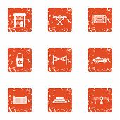Civil Machinery Icons Set. Grunge Set Of 9 Civil Machinery Vector Icons For Web Isolated On White Ba poster