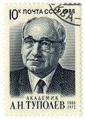 Ussr - Circa 1988 : A Postage Stamp Printed In Ussr Shows A. N. Tupolev Aircraft Constructor,  Circa