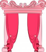 Ancient arches decorated with curtains design element . Vector