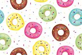Donut. Pattern Of Sweet Colorful Donuts. Hand Drawn Design Seamless Pattern Of Donuts. Dessert, Past poster