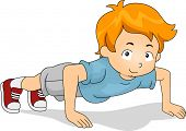 Illustration of a Kid Doing Pushups