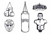 Set Of Different Elements For Box Design - Boxing Gloves, Boxer Man, Boxing Helmet, Boxing Belt, Pun poster