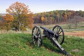 image of battlefield  - A cannon at the Gettysburg National Military Park in Pennsylvania - JPG