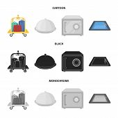 Trolley With Luggage, Safe, Swimming Pool, Clutch.hotel Set Collection Icons In Cartoon, Black, Mono poster