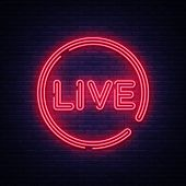 Live Neon Sign Vector. Live Stream Design Template Neon Sign, Light Banner, Neon Signboard, Nightly  poster