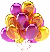 Balloons party birthday purple yellow translucent decoration