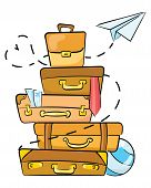 Cartoon Luggage For Traveling. Illustration For Travel Agencies. A Lot Of Luggage Lying On Top Of Ea poster