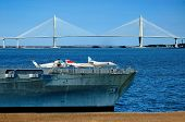 Yorktown With Ravenel Bridge In Background