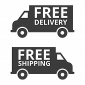 Free Delivery And Free Shipping Truck. Vector Illustration poster