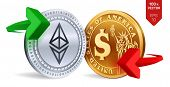 Ethereum To Dollar Currency Exchange. Ethereum. Dollar Coin. Cryptocurrency. Golden And Silver Coins poster