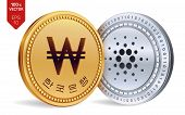 Cardano. Won. 3d Isometric Physical Coins. Digital Currency. Korea Won Coin. Cryptocurrency. Golden  poster