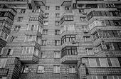 Soviet Apartment Building. Apartment Block. Residential Building. Soviet Architectural Style. 1980s. poster