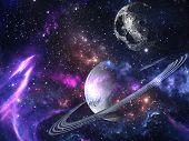 Planets and galaxies, science fiction wallpaper. Beauty of deep space. Billions of galaxies in the u poster