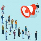 Flat Design 3d Isometric Man Promoter With Loudspeaker Talking To Crowd.  Megaphone Alert Promotion  poster