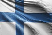 Isolated Finland Flag Waving, 3d Realistic Finland Flag Rendered poster