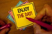 Conceptual Hand Writing Showing Enjoy The Day Motivational Call. Business Photo Text Enjoyment Happy poster