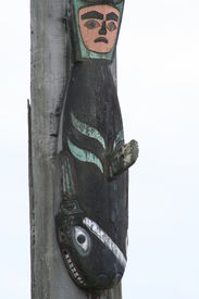 picture of tlingit  - Orca figure that is a clan crest carved on a Tlingit totem pole on historic Shakes Island at Wrangell - JPG