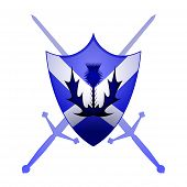 image of scottish thistle  - Thistle symbol and claymore swords with a scottish shield - JPG