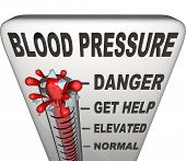 Blood Pressure words on a thermometer measuring your hypertension, with level rising past normal, el