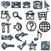Blue White Camouflage Masculine Website Icons Buttons Navigation