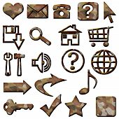 Brown Camouflage Masculine Website Icons Buttons Navigation
