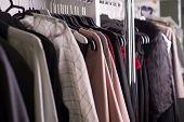 Clothes Hanger Atelier Designer Clothes Shop. Close-up Of Diverse Womens Clothing poster
