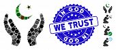 Mosaic Praying Muslim Hands Icon And Rubber Stamp Watermark With In God We Trust Text. Mosaic Vector poster
