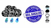 Mosaic Rain Cloud Icon And Corroded Stamp Seal With India, Bangalore Phrase. Mosaic Vector Is Compos poster