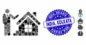 Mosaic Realty Agent Icon And Grunge Stamp Seal With India, Kolkata Phrase. Mosaic Vector Is Formed F poster