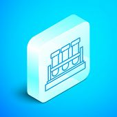 Isometric Line Test Tube And Flask Chemical Laboratory Test Icon Isolated On Blue Background. Labora poster