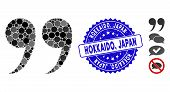 Collage Quote Symbol Icon And Rubber Stamp Seal With Hokkaido, Japan Text. Mosaic Vector Is Composed poster