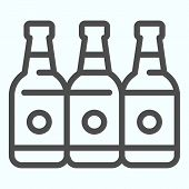 Bottles Line Icon. Three Empty Glass Bottles Vector Illustration Isolated On White. Beer Bottles Out poster