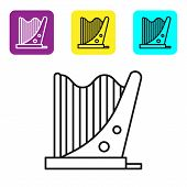 Black Line Harp Icon Isolated On White Background. Classical Music Instrument, Orhestra String Acous poster