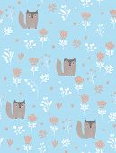 Lovely Seamless Vector Pattern With Cute Aby Fox Sitting In The Garden. Lovely Brown Fox On A Light  poster