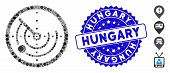 Mosaic Radar Icon And Grunge Stamp Seal With Hungary Phrase. Mosaic Vector Is Created With Radar Ico poster