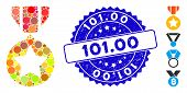 Mosaic Medal Icon And Rubber Stamp Seal With 101.00 Caption. Mosaic Vector Is Composed With Medal Ic poster