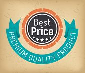 Best Price Circle Logotype And Ribbon Premium Quality Product. Shopping Label In Round Shape Of Sati poster