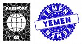 Mosaic World Passport Icon And Corroded Stamp Seal With Yemen Text. Mosaic Vector Is Formed With Wor poster