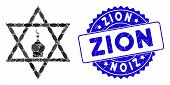Mosaic Zion Icon And Distressed Stamp Seal With Zion Phrase. Mosaic Vector Is Composed With Zion Ico poster