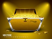 Treasure chest with full of coins on shiny abstract background. EPS 10.