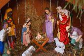 Christmas Nativity Scene Of Jesus Birth, Wooden Nativity Scene With Religious Statuettes poster