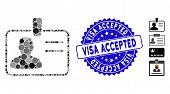 Mosaic User Badge Icon And Corroded Stamp Watermark With Visa Accepted Caption. Mosaic Vector Is Com poster