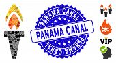 Mosaic Torch Icon And Corroded Stamp Seal With Panama Canal Caption. Mosaic Vector Is Composed With  poster