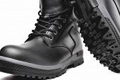 Winter Mens Black Leather Shoes On A White Background, Hiking Shoes, Practical Off-road Shoes, Clos poster