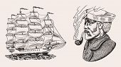Nautical Sailing Ship In The Sea. Captain Or Sailor With Pipe. Seaman With Beard. Seagoing Vessel, M poster