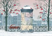 Winter cityscape with old advertising column, flocks of bullfinches perching on the trees and houses