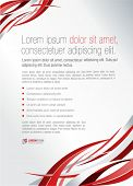 Red abstract template for advertising brochure. Element for modern design.