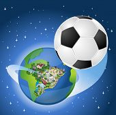 Earth globe with a soccer ball coming out of Brazil. Brazilian world cup football.